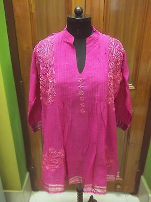 Tunic Xl 44 Handmade Malmal 100% Cotton Ethnic Chikan Embroidery Top Kurta Kurti