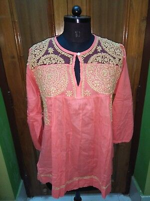 Xl 45 Ethnic 100% Malmal Cotton Handmade Top Chikan Embroidery Kurta Kurti Tunic