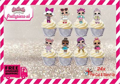 LOL Dolls 24x Stand-Up Pre-Cut Wafer Paper Cup cake Toppers