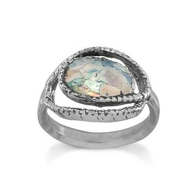 Ancient Roman Glass Textured Open Wrap Style Ring-.925 Sterling Silver-Size 7-10