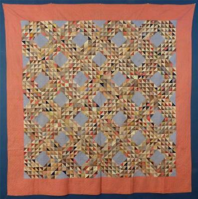 "Early Antique ""Ocean Waves"" Cotton Quilt, Ohio, c.1870-80, NICE!"