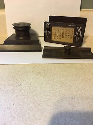ANTIQUE ARTS CRAFTS HEINTZ STERLING SILVER BRONZE  3-piece DESK SET