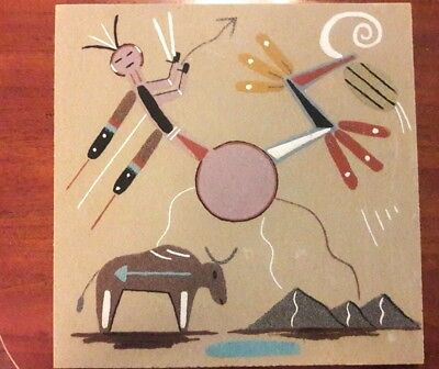 Navajo Sand Painting, M Yazzie,  Authentic Native American Indian