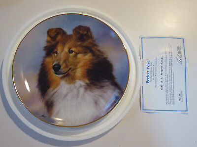 Danbury Mint Shetland Sheepdogs/Sheltie Plate PERFECT POSE Edward Aldrich +COA