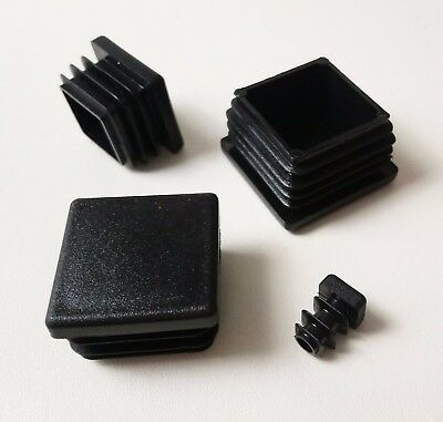 Square Plastic End Caps Blanking Plugs Inserts Tube/ Box Section / Black