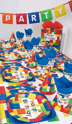 BUILDING BLOCKS Birthday Party Range (Lego) Tableware, Decorations or Balloons