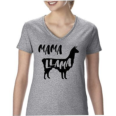 Mama Llama V-neck funny shirt cute shirt for mom kids book free shipping womens