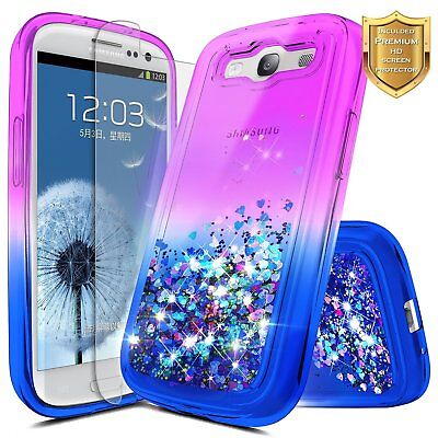 For Samsung Galaxy S3 | Glitter Liquid Bling TPU Case Cover + Screen Protector