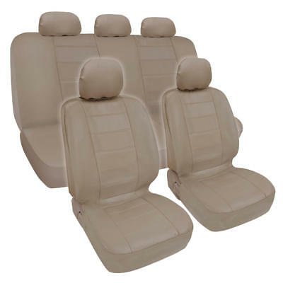 Synthetic Leather Beige Car Seat Covers Genuine Leather Feel Front Rear Full Set