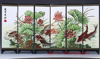 Chinese Lacquer Handmade Fish & Lotus Screen PF001