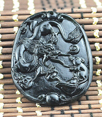 2017 NEW Natural black green jade jadeite pendant necklace  Dragon mouse Battle