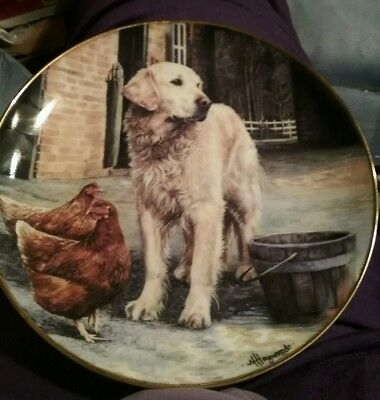 Golden Companions Farmyard Friends Plate Danbury Mint Mandie Haywood Retriever