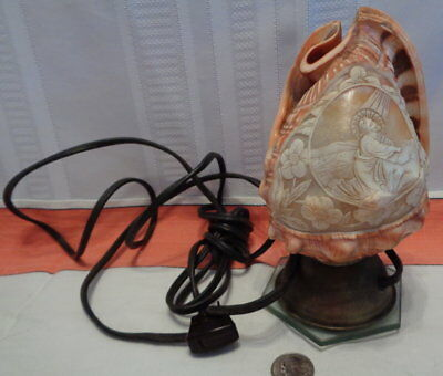 ~Vintage Carved Cameo Helmut Shell Lamp! Jesus Praying in Gethsemane! AWESOME!~