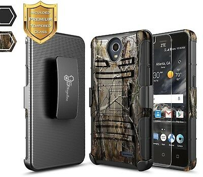For ZTE Maven 3 Z835 / Overture 3 Belt Clip Holster Case Cover + Tempered Glass