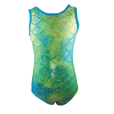 NWT Reflectionz Girls Lime Turquoise Mermaid Leotard Dance Gymnastics Dress up