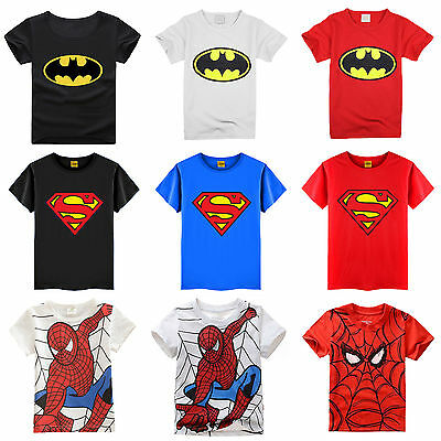 Superman Spiderman Kids Baby Boy T-Shirt Toddler Clothes Short Sleeve Summer Top