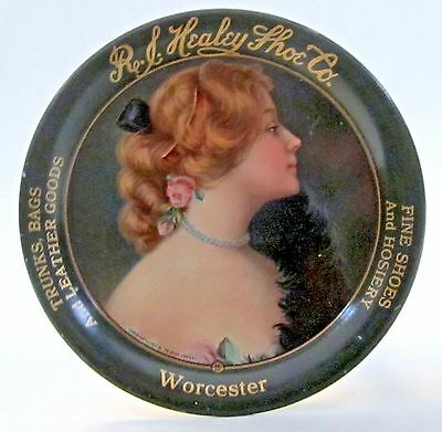 1907 HEALEY SHOE CO. Worcester MASSACHUSETTS tin litho tip tray