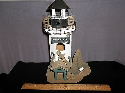Bird House Light House Shack w Rear Door for Table Top White Black Brown - Wood