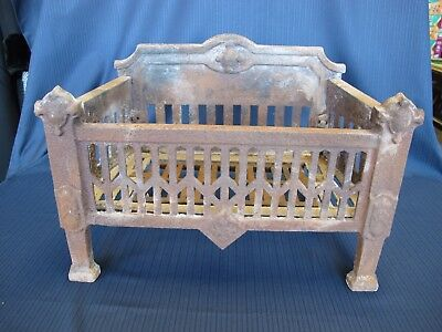 Antique Victorian Cast Iron Fireplace Coal Basket Wood Log Grate Holder 21x15x12