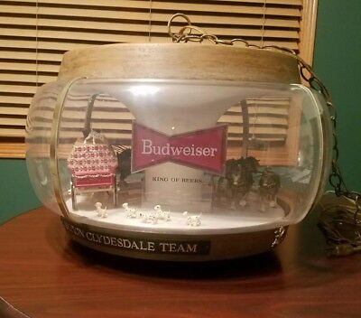 """1960's Budweiser Clydesdale Carousel Lighted Rotating Bar Light """"The Holy Grail"""""""