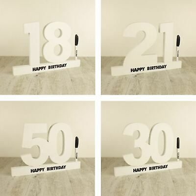 Birthday Sign Numbers - Signature Number Block Wood 1st 40th 18th 21st 13th 16th