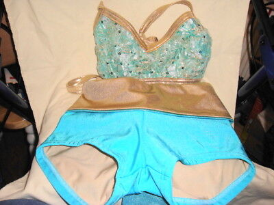 """Girl's Details Dancewear Shorts """"adult S"""" And Sequined Top """"yl"""" Turquoise/gold"""