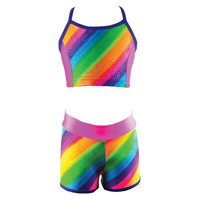 NWT Reflectionz Girls Top and Short Set Rainbow Stripe Dance Gymnastics Tumbling