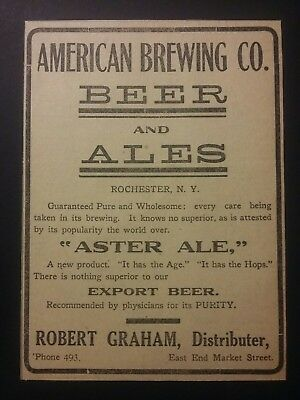1911 American Brewing Co Beer & Ales Ad Rochester, New York