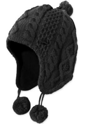 Child Toddler Winter Ski Hat Black Cabled Ribbed Cotton Warm With Pom Poms