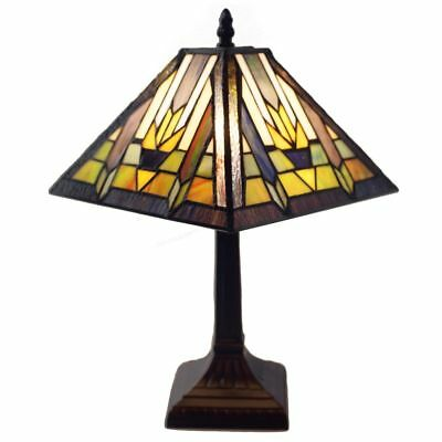 Tiffany Style Mission Table Lamp Stained Glass Resin Bronze Finish Desk Light