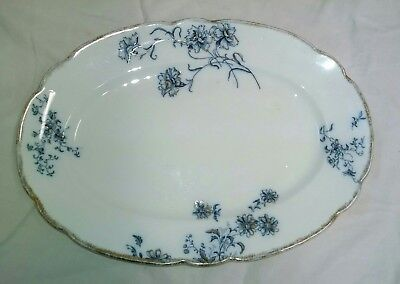 Antique W.H. Grindley and Co. England Blue, White, & Gold Platter (National)