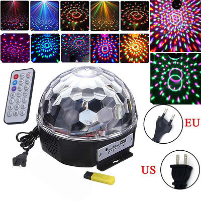 Remote Control Crystal Magic Ball 18W 6 LED Stage Light Party Disco DJ Club KTV