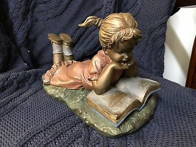 NEW Large heavy figurine vintage style girl reading book on grass book end