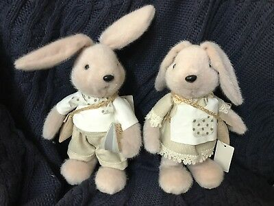NEW pair christiana home nursery baby decor bunny rabbit hard toy linen faux fur