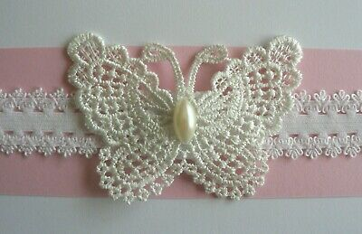White Lace Newborn/Baby/Toddler/Girl Headband/White Lace Butterfly- Pearl Centre