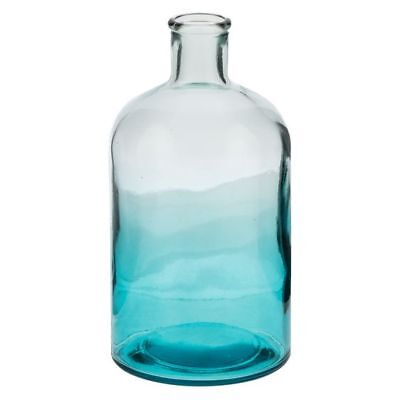 NEW Casa Uno Recycled Glass Bottle Vase in Blue