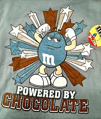 """M&M Brand,  """"Powered By Chocolate"""" Light Blue T Shirt Size large"""