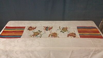 """70"""" Embroidery Embellished Linen Table Runner"""