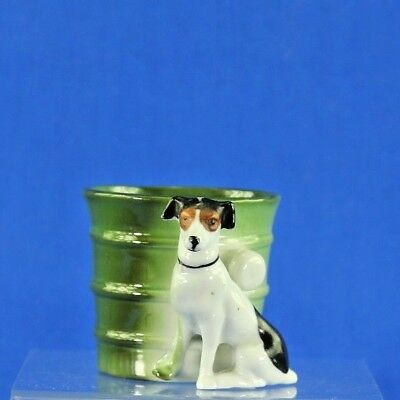 Antique Porcelain Dog And Barrel Toothpick Holder