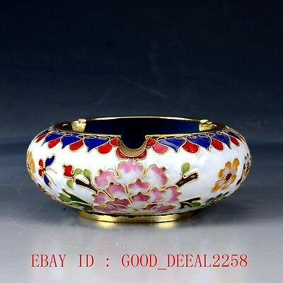 Chinese Cloisonne Hand-painted Flowers Ashtray JTL062