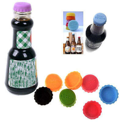 6* Lovely Beer Bottle Silicon Caps Saver Cover Reusable Stopper Lid Colour Nice