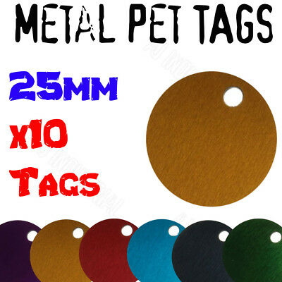 BULK Round Pet Tags anodized aluminium 25mm round x10 Pack of tags - 6 colors