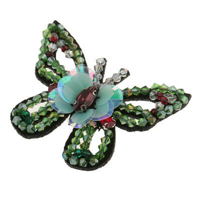 Butterfly Crystal Sequins Beaded Patch Embroidery Clothing Applique Green