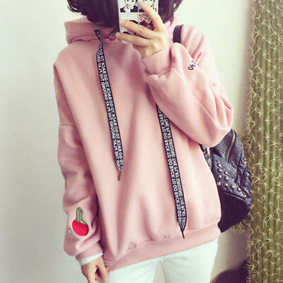 Korean Women Thick Embroidery Hooded Sweatshirt Casual Hoodie Pullovers Tops NEW