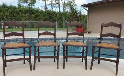 Set 4 Antique Duncan Phyfe Sheraton Style Mahogany Cane Seat Dining Side Chairs