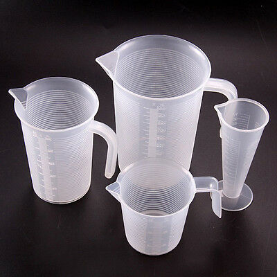 4 Sizes Kitchen Measuring Jug Plastic Cup Graduated Surface Cooking Bakery Lab~