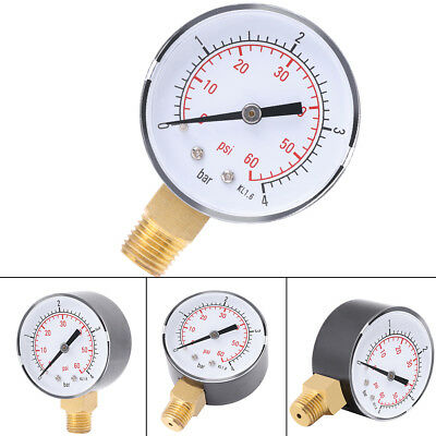 1x Mini Pressure Gauge Manometer For Fuel Air Oil Or Water 0-4bar / 0-60psi  NPT