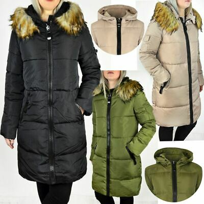 Womens Ladies Long Winter Coat Detachable Furry Hood Warm Quilted Jacket Size