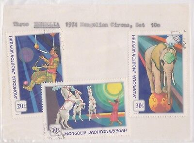 (V5-44) 1970s Mongolia old stamps pack 3 stamps Circus (AR)