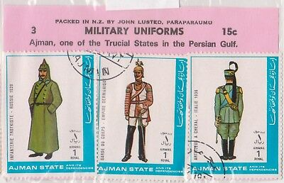 (V6-19) 1960 AJMAN old stamps pack 3stamps military uniforms (T)